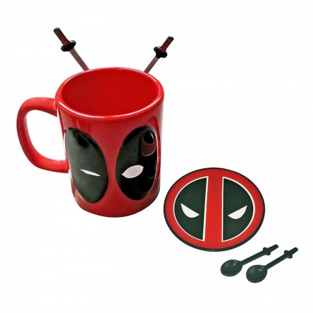 Deadpool Coffee Mug with Spoons & Coaster