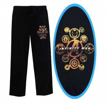 Avengers Infinity War Gold Print Men's Pajama Pants
