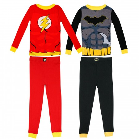 Batman & Flash Costume 4 Pc Pajama Set