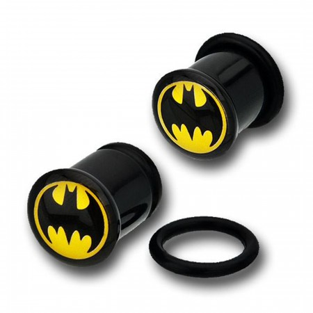 Batman Black Acrylic Single Flare Plugs1