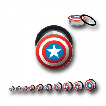 Captain America 316L Surgical Steel Plugs