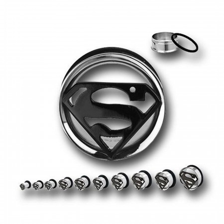 Superman 316L Surgical Steel Tunnel Plugs