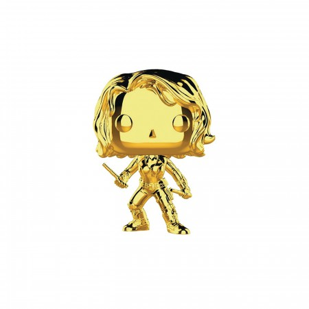 Marvel Studios 10th Anniv Black Widow Funko Gold Chrome Pop Bobble Head