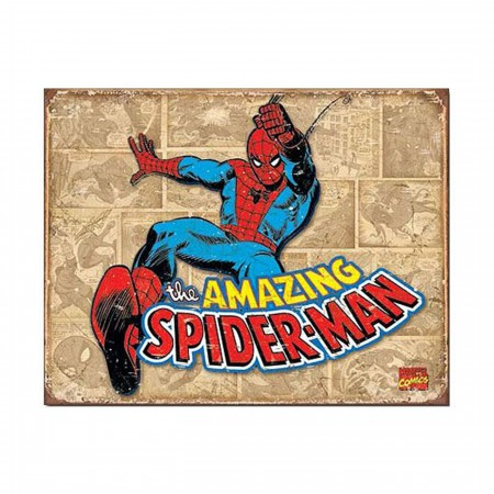 Spider-Man Vintage Sepia Panels Tin Sign
