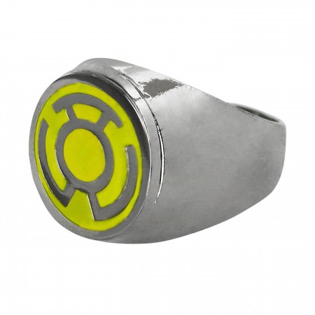 Yellow Lantern Symbol Stainless Steel Plated Ring