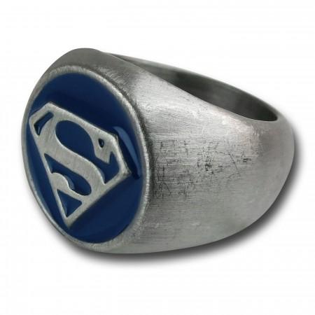 Superman Brushed Nickel Blue Embossed Ring