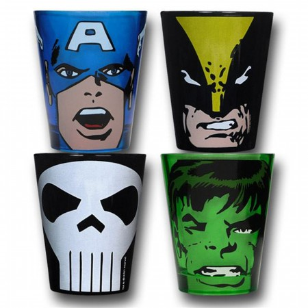 Marvel Set of Four Colored Shot Glasses