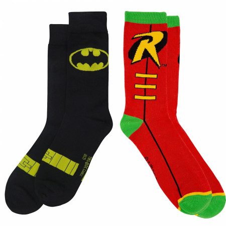 Batman and Robin Costume Symbol Crew Socks 2-Pair Pack