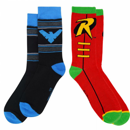 Robin and Nightwing Dick Greyson Crew Socks 2-Pair Pack