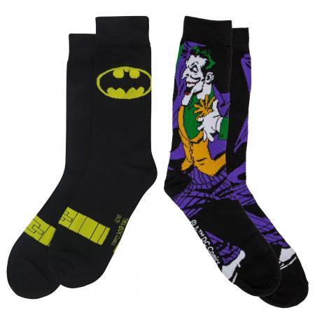 Batman Symbol and Joker Character Crew Socks 2-Pair Pack