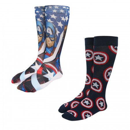 Captain America Photoreal Socks 2-Pack