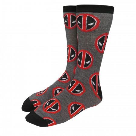Deadpool Symbols on Charcoal Crew Socks