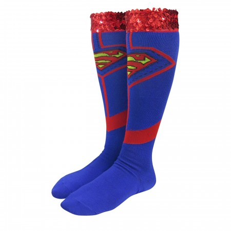 Supergirl Costume Women's Knee High Socks