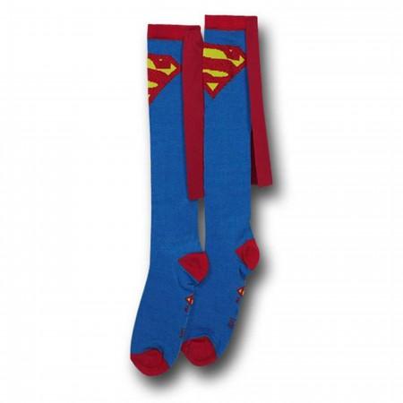 Superman Socks w/Capes Women's Knee-Highs