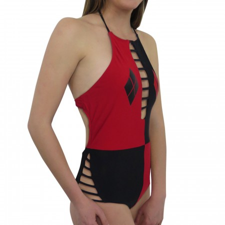 Harley Quinn Cut-Out High Neck One-Piece Swimsuit