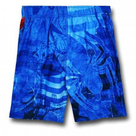 Spiderman Leaping Kid's Board Shorts