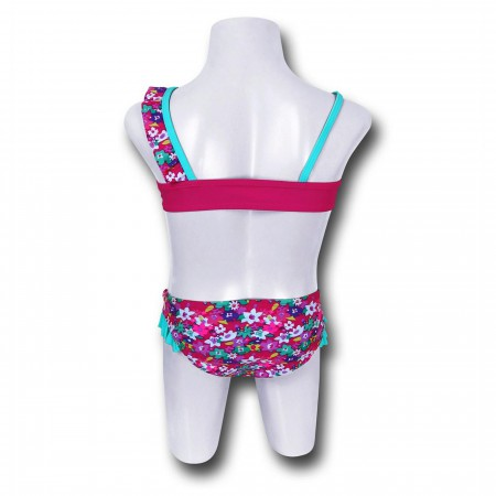 Batgirl Bloom One-Shoulder Kids Bikini