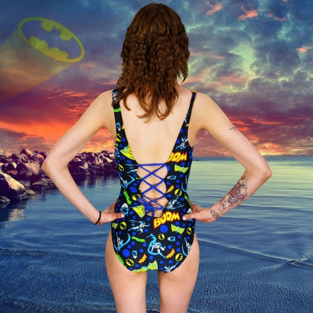 Batman Logo BOOM Womens One-Piece Swimsuit