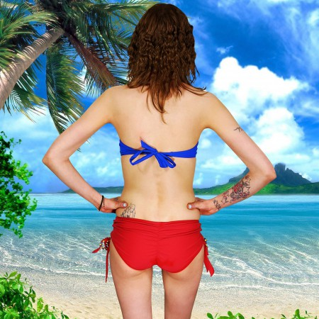 Supergirl Bandeau Lace-Up Bottom Bikini