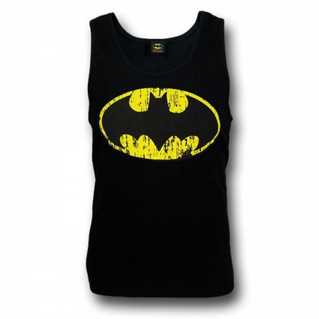Batman Distressed Symbol Black Tank Top