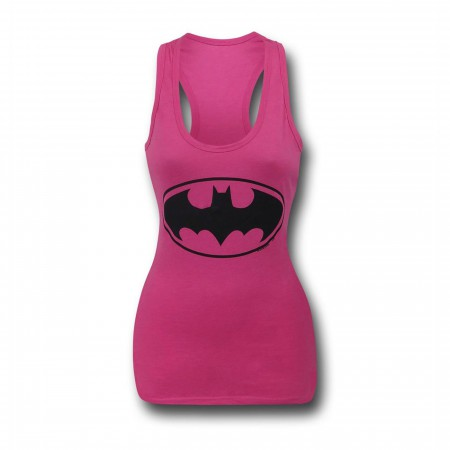 Batgirl Symbol Women's Pink Racer Back Tank Top
