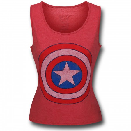 Captain America Shield Women's Red Fitted Tank Top