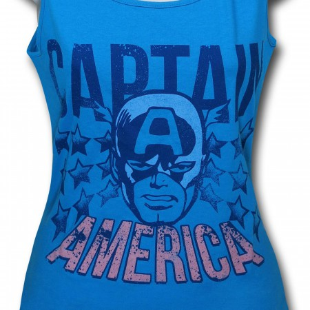 Captain America Face Women's Blue Fitted Tank Top