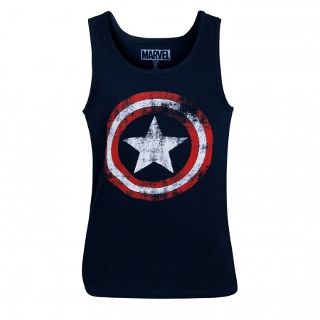 Captain America Distressed Navy Blue Tank Top