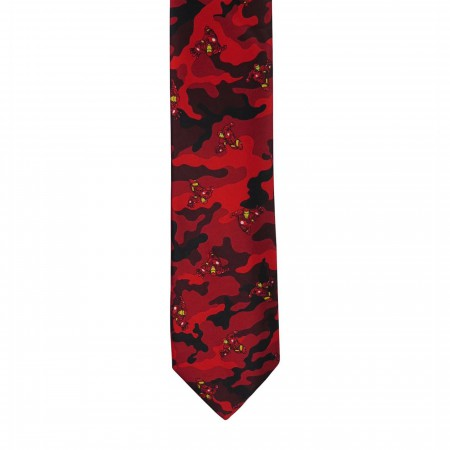 Iron Man Flying Red and Black Camo Tie