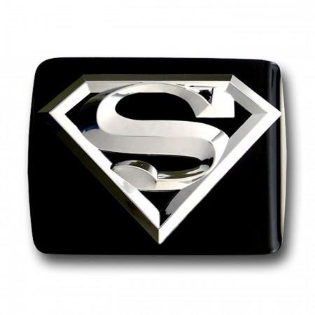 Superman 3D Chrome on Black Metal Trailer Hitch Plug