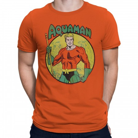 Aquaman Trident Bearing Circle Orange T-Shirt