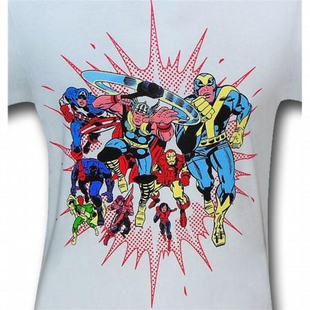 Avengers Retro Blast 30 Single White T-Shirt