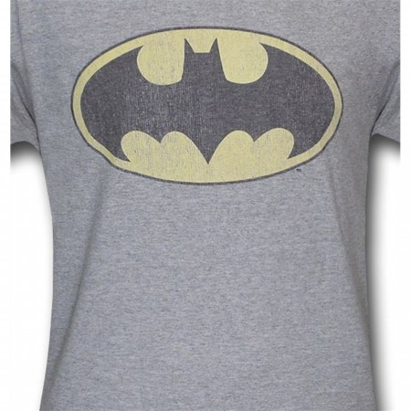 Batman Distressed Logo Heather Gray Ringer T-Shirt