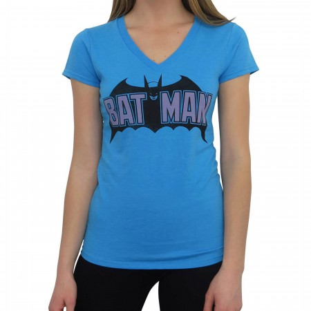 Batman Old School Logo Women's V-Neck T-Shirt