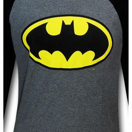 Batman Symbol Heather Grey Raglan T-Shirt