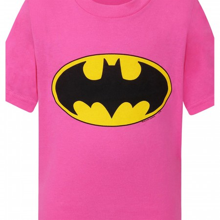 Batman Kids Pink Symbol T-Shirt