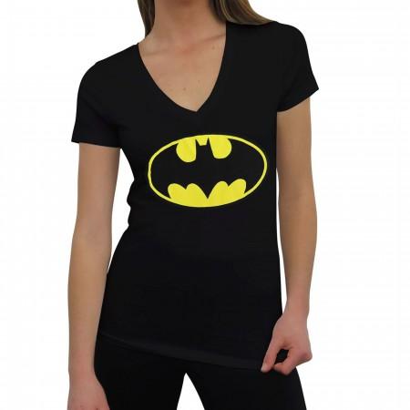 Batman Symbol Fitted V-Neck Women's T-Shirt
