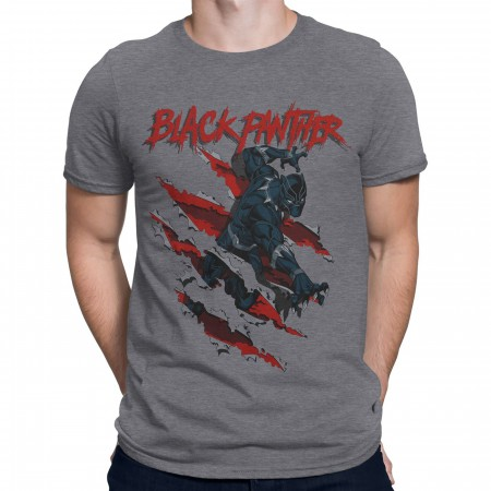 Black Panther Clawing Through Men's T-Shirt