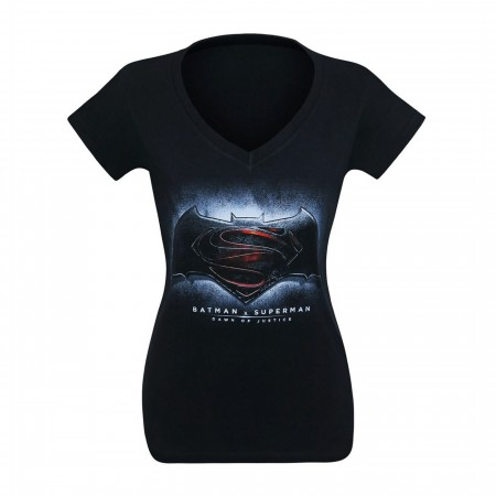 Batman Vs Superman Symbol Women's V-Neck T-Shirt