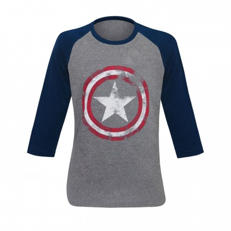 Captain America Gray Distressed Shield Baseball T-Shirt