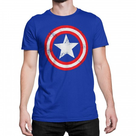 Captain America Distressed Shield Royal Blue T-Shirt