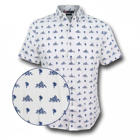 Captain America Floral Men's Fitted Button Down Shirt