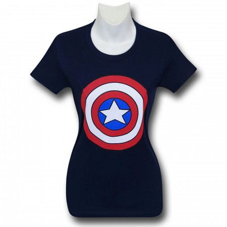 Captain America Shield Women's Navy T-Shirt