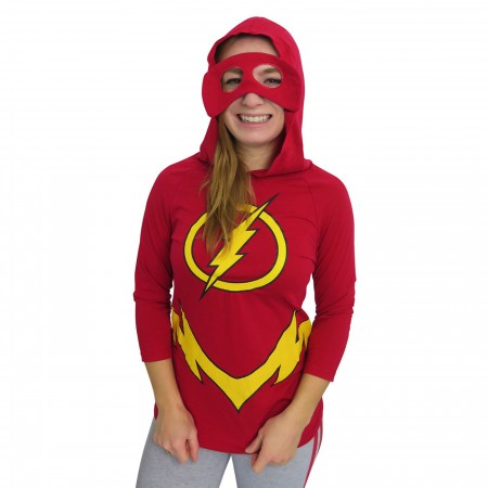 Flash Hooded Mask Women's Costume Long Sleeve T-Shirt