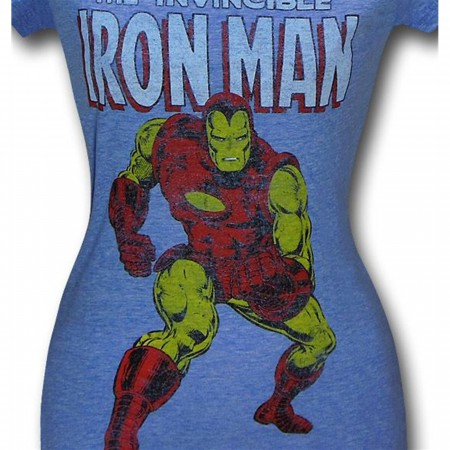 Iron Man Classic Heather Blue Juniors T-Shirt