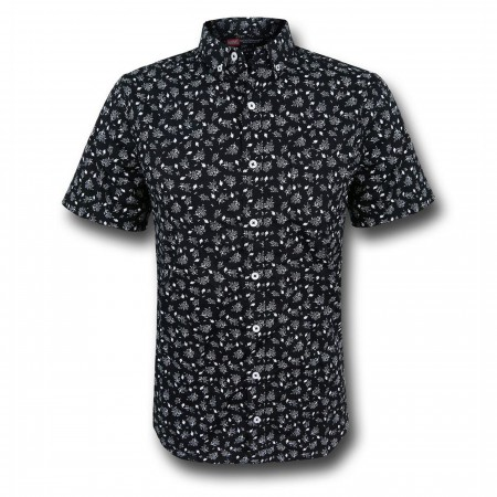 Iron Man Floral Men's Fitted Button Down Shirt