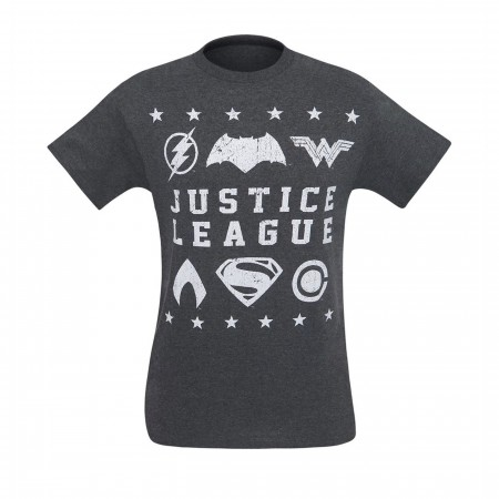 Justice League Movie Distressed Symbols Men's T-Shirt
