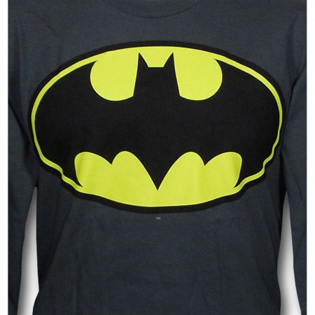 Batman Symbol II Gray Long Sleeve T-Shirt