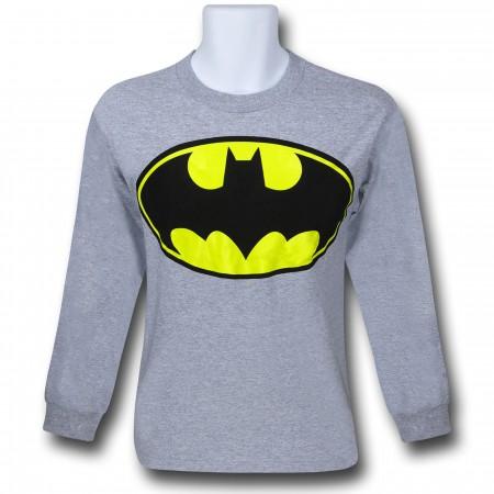 Batman Symbol Long Sleeve Grey T-Shirt