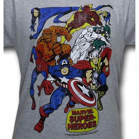 Marvel Heroes Group Shot 30 Single T-Shirt